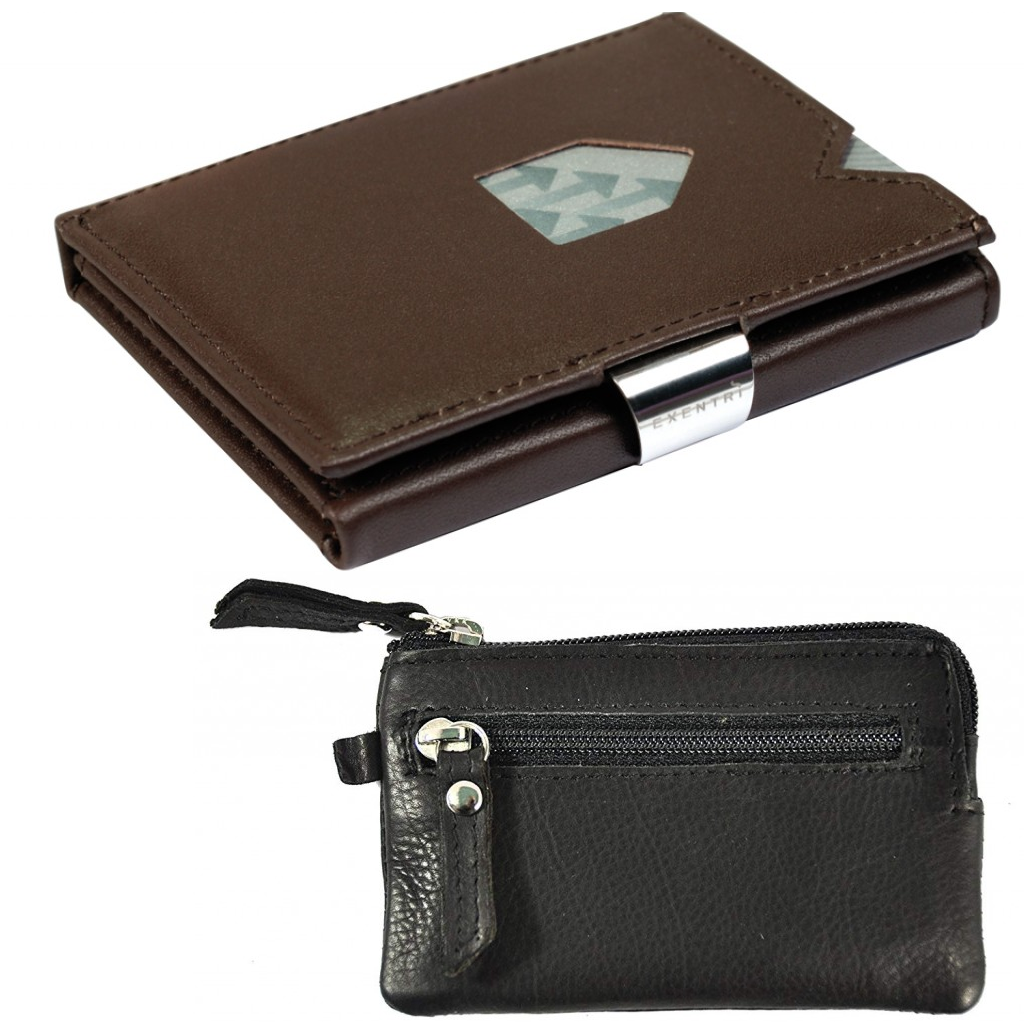 Exentri Wallet Black Chess NON-RFID + Leather key case
