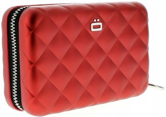 Ögon Card Case - Quilted Zipper Red